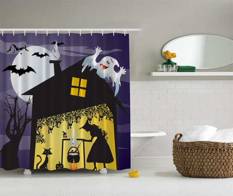 Witchs Brew On Halloween Night Decorative Fabric Shower Curtain
