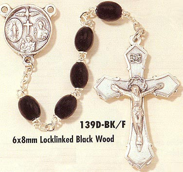 Pewter Rosary with Wood Beads - Discount Catholic Store