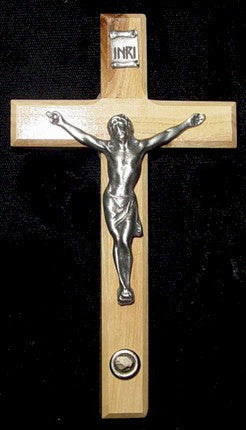 "5"" Olive Wood Cross with Bethlehem Stone - Discount Catholic Store"