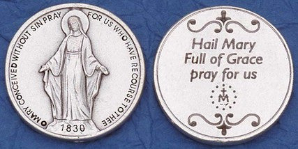 Miraculous Medal Religious Pocket Coin