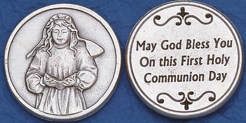 First Communion Girl Religious Pocket Coin