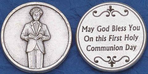 First Communion Boy Religious Pocket Coin