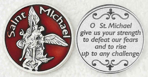 St. Michael with Red Enamel Religious Pocket Coin