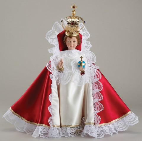 Infant of Prague Statue with Dress and Crown 16""