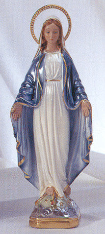 Statue - Our Lady of Grace 16 Inches Plaster with Jeweled Rhinestone Halo