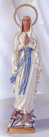 Statue - Our Lady of LStatue - Ourdes Plaster with Jeweled Rhinestone Halo