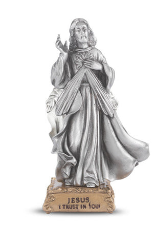 Divine Mercy Pewter Statue on base