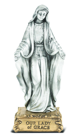 Our Lady of Grace Pewter Statue on base