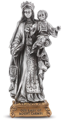Our Lady of Mount Carmel Pewter Statue on base