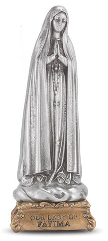 Our Lady of Fatima Pewter Statue on base
