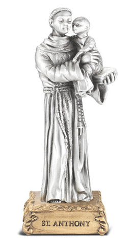 St. Anthony Pewter Statue on base