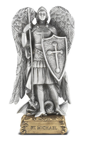 St. Michael Pewter Statue on base