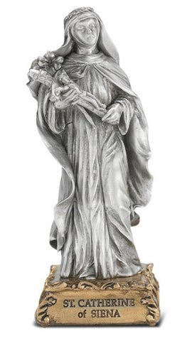 St. Catherine of Siena Pewter Statue on base