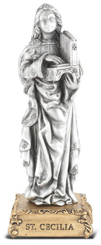 St. Cecilia Pewter Statue on base