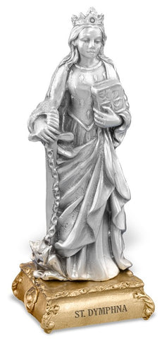 St. Dymphna Pewter Statue