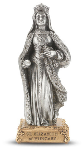 St. Elizabeth of Hungary Pewter Statue on base