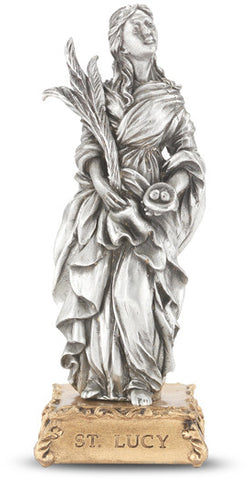 St. Lucy Pewter Statue on base