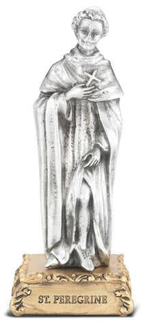 St. Peregrine Pewter Statue on base