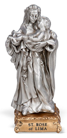 St. Rose of Lima Pewter Statue