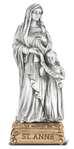 St. Anne Pewter Statue on base