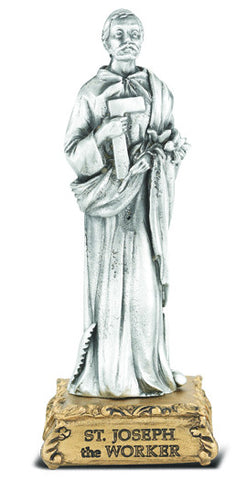 St. Joseph the Worker Pewter Statue on base