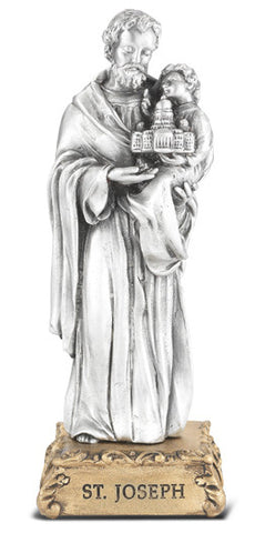 St. Joseph Pewter Statue on base
