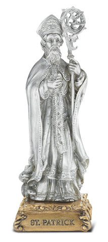 St. Patrick Pewter Statue on base