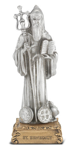 St. Benedict Pewter Statue on base