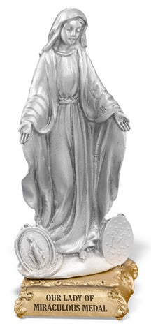 Our Lady of Grace - Miraculous Medal Pewter Statue