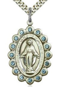 Miraculous Medal with Blue Crystals - Discount Catholic Store