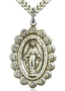 Miraculous Medal with Clear Crystals - Discount Catholic Store