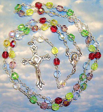 5mm Multi-Colored Glass Rosary - Discount Catholic Store