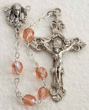 Pink Glass Bead Rosary