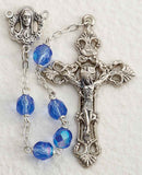 Dark Blue Glass Bead Rosary