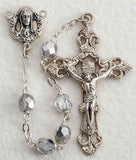 Silver Glass Bead Rosary