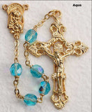Aqua Glass Bead Rosary