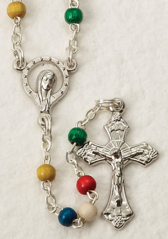 4mm Multi-Colored Wood Rosary
