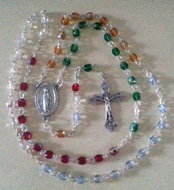 4mm Multi-Colored Glass Bead Rosary