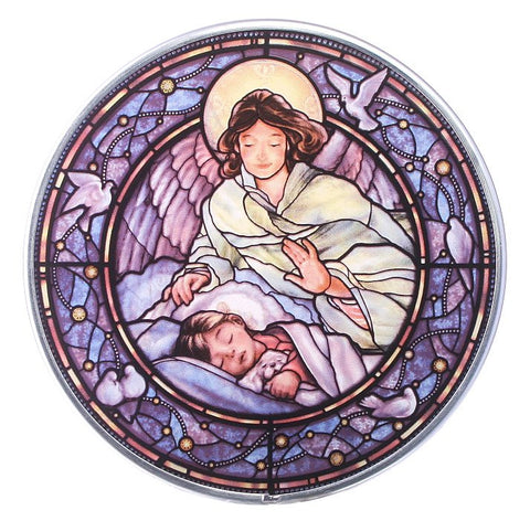 Guardian Angel with Girl Genuine Stained Glass