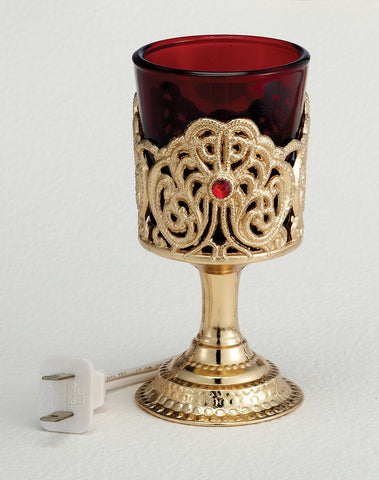 Electric Votive Stand with Ruby Glass