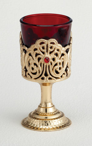 Non-Electric Votive Stand with Ruby Glass