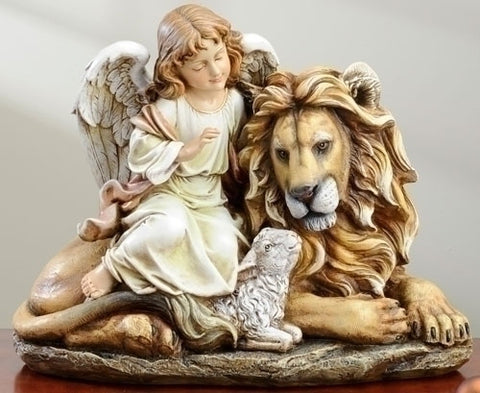 Angel with Lion & Lamb Statue - Discount Catholic Store