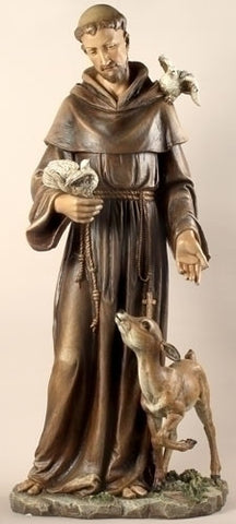 St. Francis with Animals Indoor Statue 36 Inches