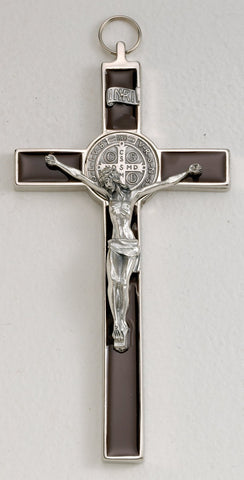 St. Benedict Crucifix Brown Enamel 7.5""