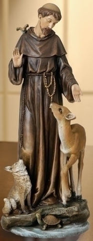 St. Francis with Animals Indoor Statue 14 Inches