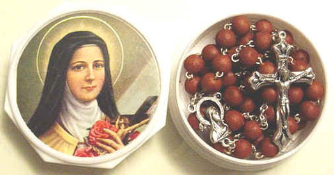 Genuine Rose Petal Rosary with St. Therese Case - Discount Catholic Store