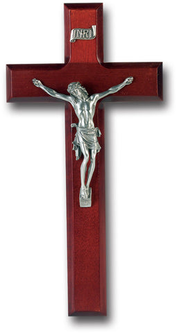 "10"" Dark Cherry Wood Cross with Pewter Corpus"