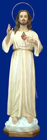 Divine Mercy Statue with Glass Eyes! 60 Inches in height.