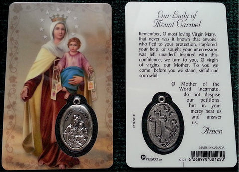 Our Lady of Mount Carmel Prayer Card
