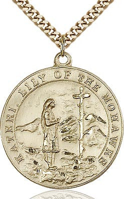 St. Kateri Tekakwitha Gold Filled Medal - Discount Catholic Store
